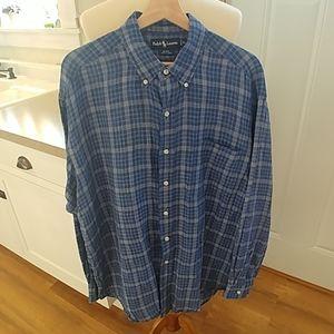 POLO RALPH LAUREN Blue Plaid BLAKE Linen Shirt XL